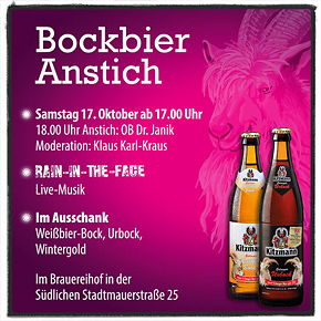 Herbst-Zeit ist auch Bockbier-Zeit: OB Dr. Florian Janik stach erstes Fass Kitzmann Urbock an